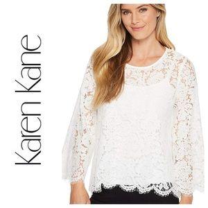 Karen Kane Flare Sleeve Scallop Lace Top
